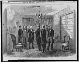 Andrew Johnson taking the oath of office in the small parlor of the Kirkwood House