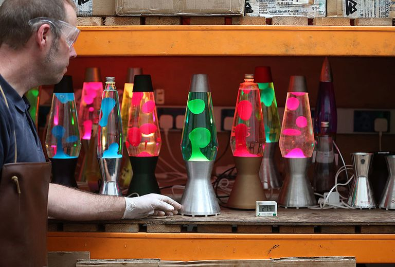 Alan Staton tests lava lamps at the Mathmos factory on September 12, 2013 in Poole, England. The company, based in Poole, Dorset, has been making the lava lamp since 1963, after it's British inventor Edward Craven-Walker was inspired to make it after seeing an odd looking liquid-filled egg timer in a pub.