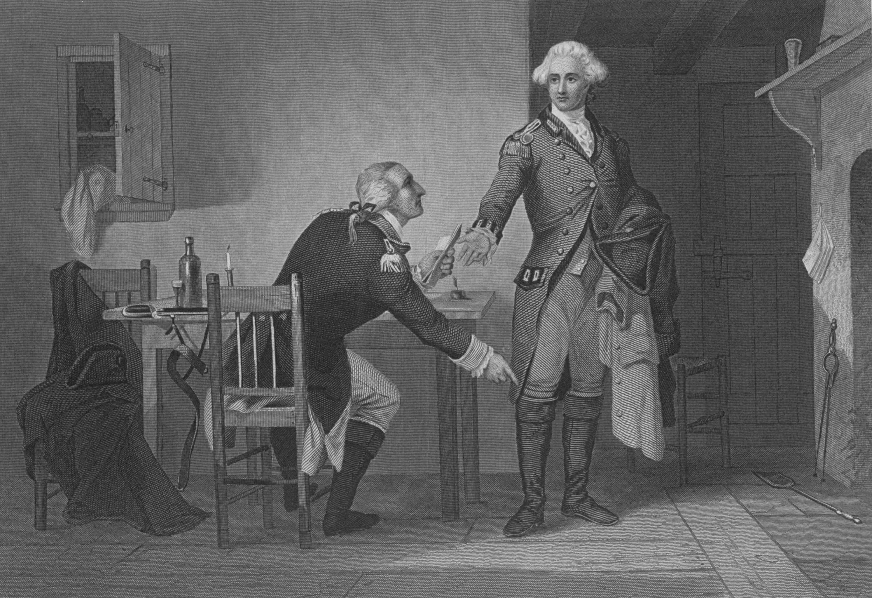 American Revolutionary general and traitor Benedict Arnold (1741-1801) conspiring with Loyalist British Major John Andre to commit treason.
