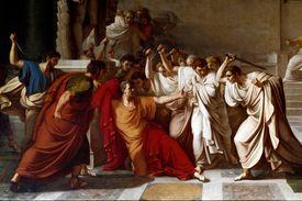 Full color painting depicting the death of Julius Caesar.