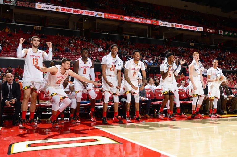The Maryland Terrapins celebrate during the game against the Maryland-Eastern Shore Hawks at Xfinity Center on November 12, 2017 in College Park, Maryland