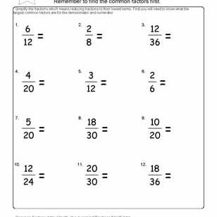 worksheets on simplifying fractions for th graders find the equivalent fractions  worksheet   answers on nd page of pdf  reduce the fractions