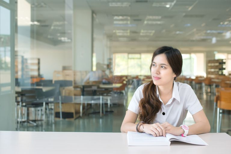 female student studying