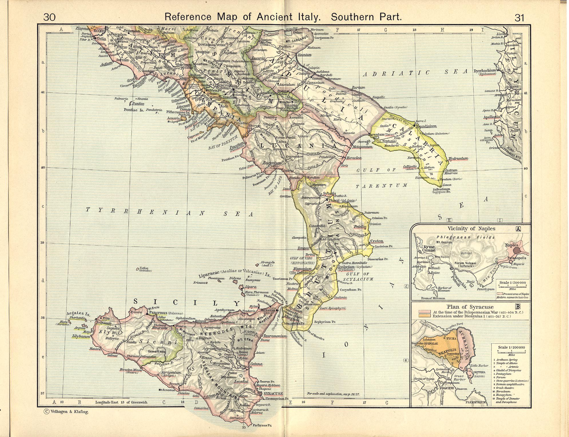 Italy - Reference Map of Ancient Italy, Southern Part