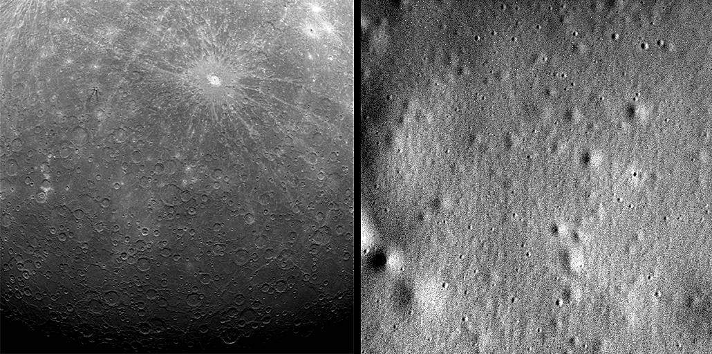 Images of Mercury's surface from 2011 and 2015.