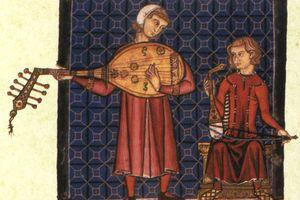 Two minstrels from the codex of the Cantigas de Santa Maria, c. 1280