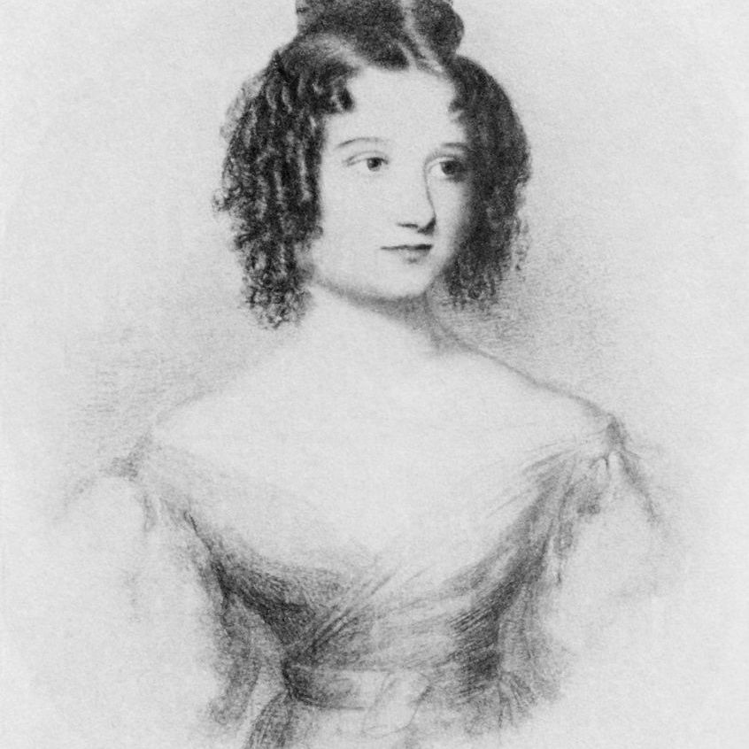 A drawing of 17-year-old Ada Byron (Augusta Ada King-Noel, Countess of Lovelace) daughter of Lord Byron.