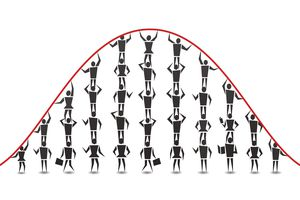 An illustration of people composing a bell curve, or the normal distribution of data.