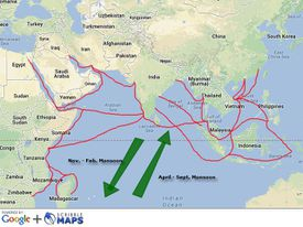 The web of trade across the Indian Ocean, driven by the monsoon winds.