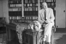 photo of Edgar Rice Burroughs in his study