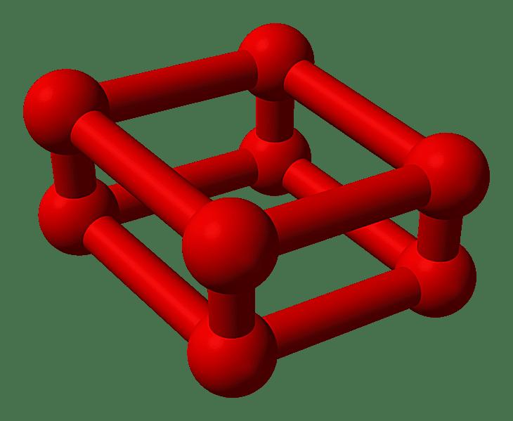 Este es el modelo de bola y palo de oxígeno rojo u octaoxígeno.