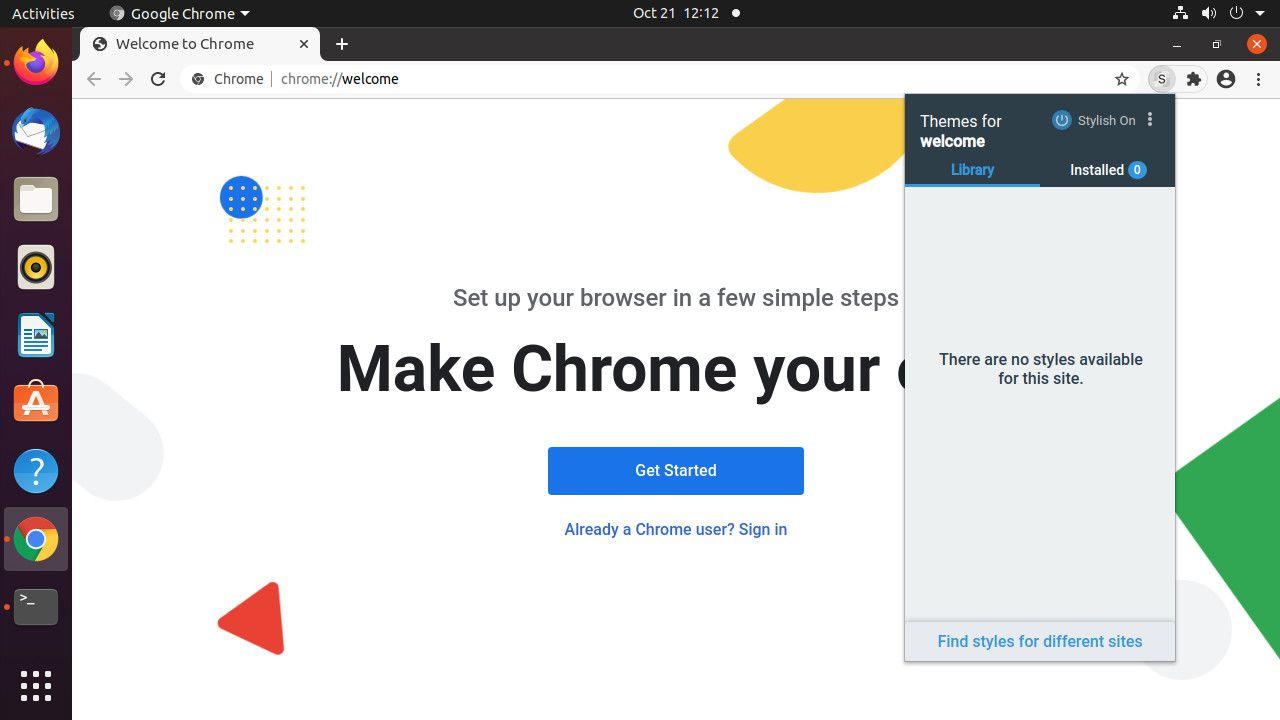 Google Chrome Stylish menu