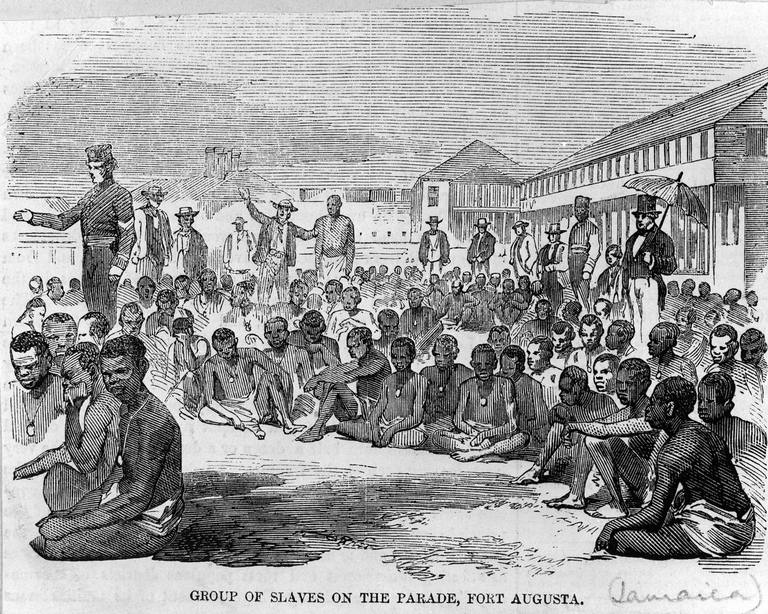 Black and white etching of slaves freed after the US Civil War