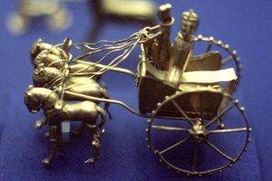Gold Model Chariot from the Oxus Treasure, Achaemenid Dynasty Persia