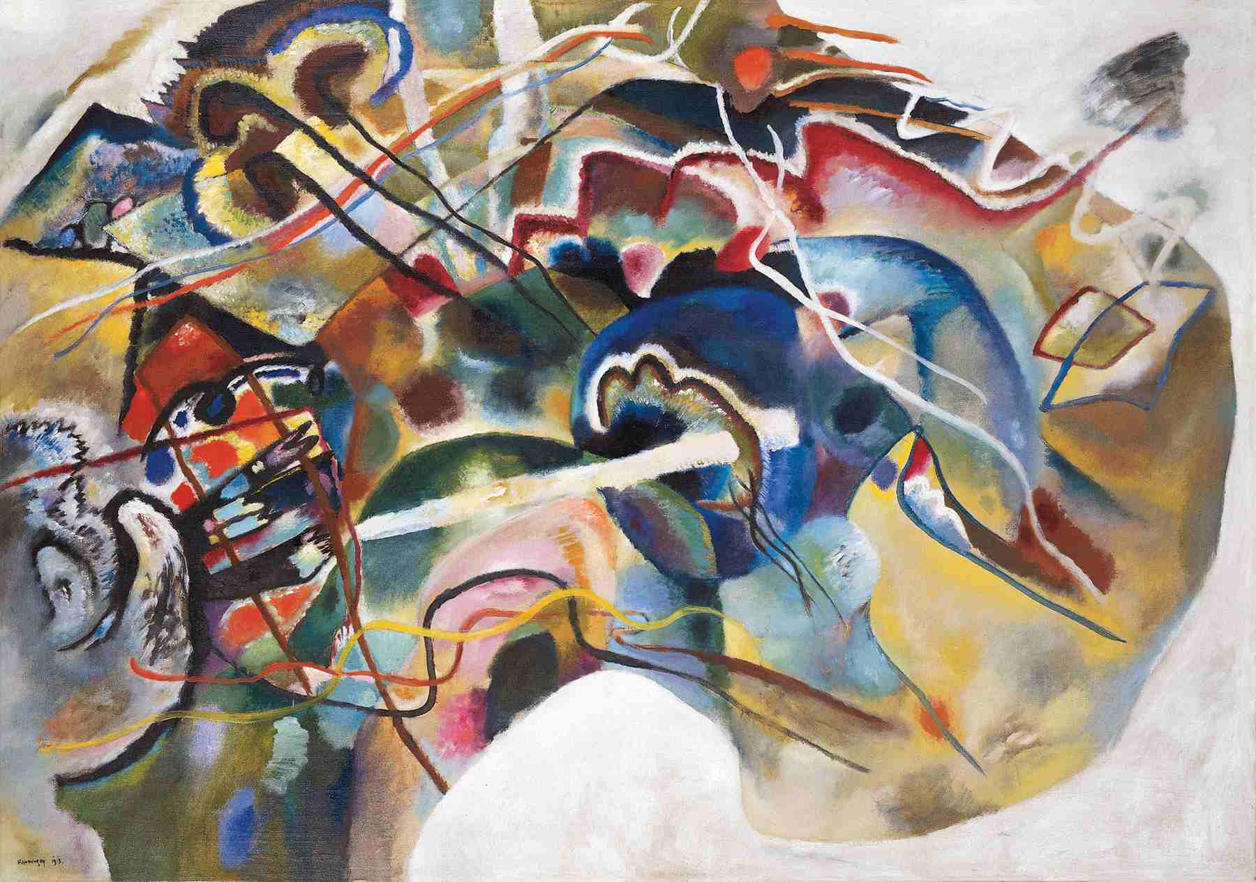 Wassily Kandinsky (Russian, 1866-1944) Wassily Kandinsky (Russian, 1866-1944). Painting with White Border (Moscow) (Bild mit weißem Rand [Moskau]), May 1913. Oil on canvas. 55 1/4 x 78 7/8 in. (140.3 x 200.3 cm). Solomon R. Guggenheim Founding Collection, By gift 37.245.