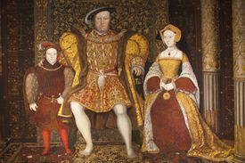 Portrait of King Henry VIII, Jane Seymour, and Prince Edwards in shades of gold and red.