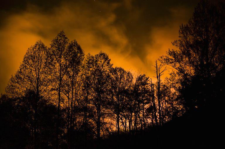 Wildfire and smoke at night