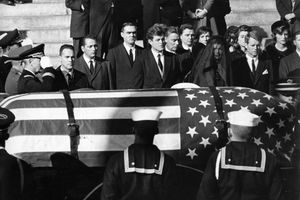 A picture of the casket of John F. Kennedy.