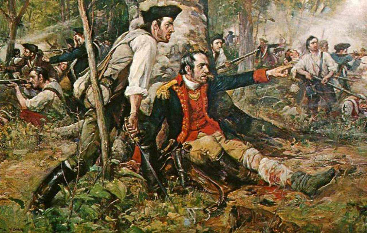 Brigadier General Nicholas Herkimer directing troops during the Battle of Oriskany.