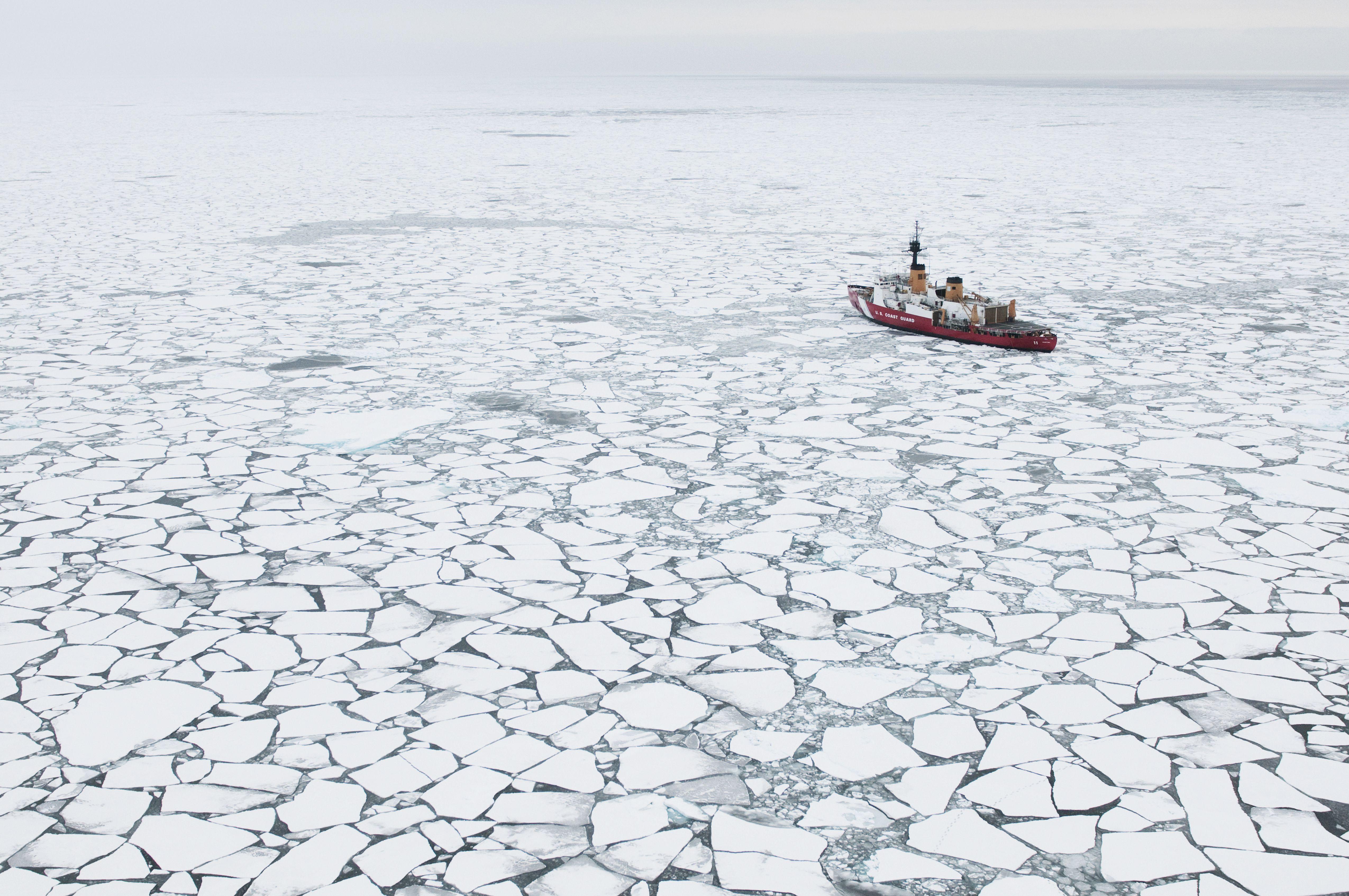 USCGC Polar Sea Icebreaker in the arctic pack ice of Beaufort Sea