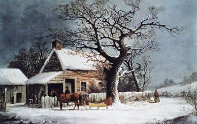 Reading Frosts Stopping By Woods On A Snowy Evening American Winter Scene A Country Cabin Lithorgaph