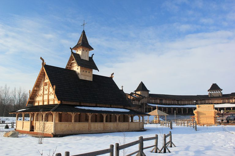 Reconstructed Kievan Rus house at the Kievan Rus theme park near Kyiv, Ukraine.