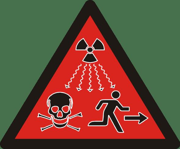 Lab safety signage, potentially ionizing radiation.