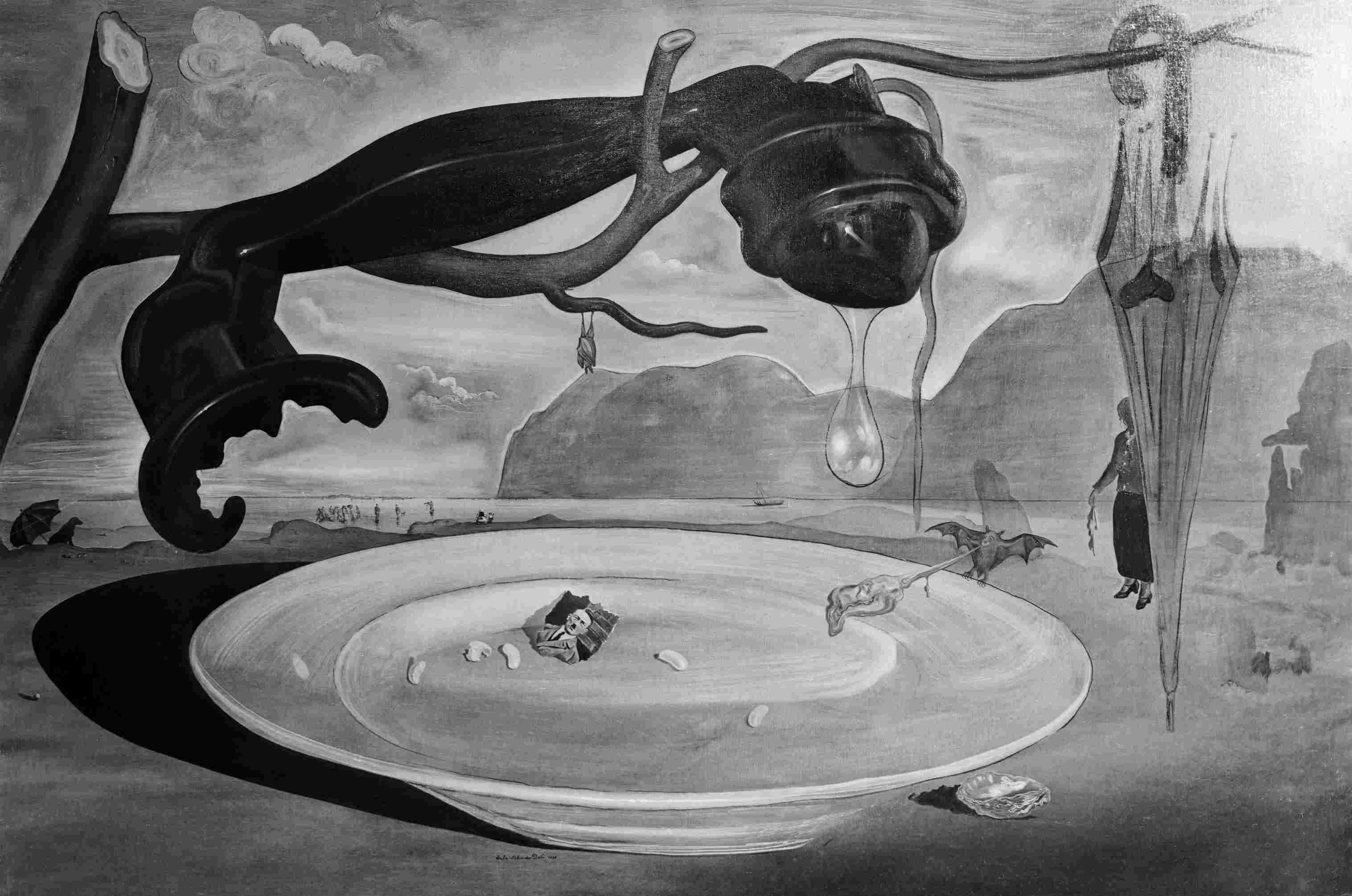 Surreal painting of a melting telephone, a bat, and a torn photo of Hitler on a dinner plate