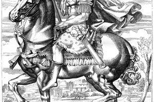 Illustration of Julius Caesaron horse.