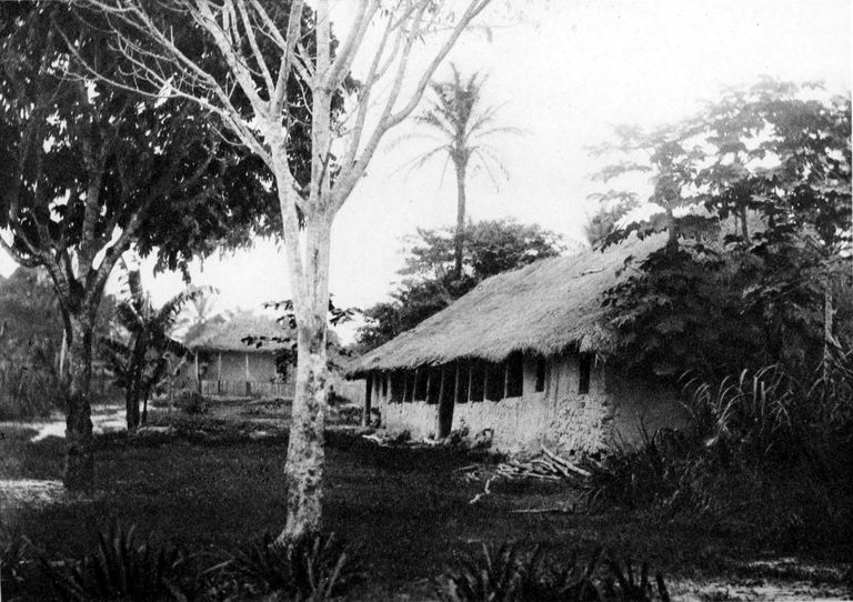 Belgian river station on the Congo River, 1889