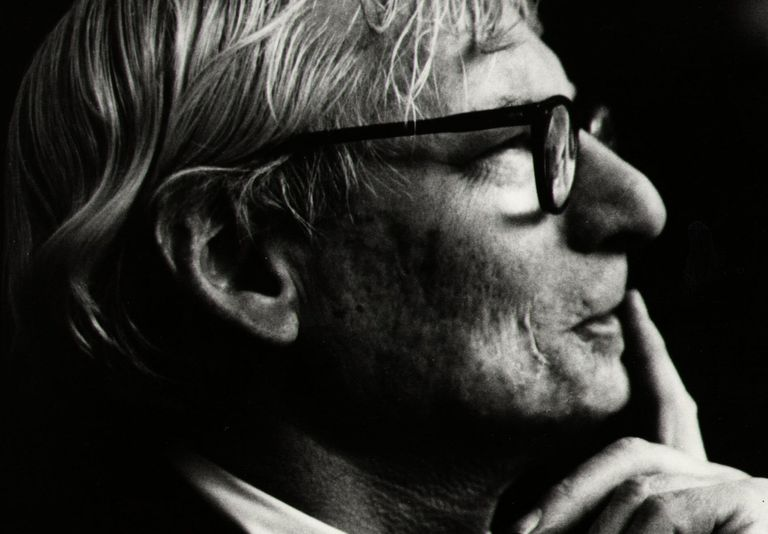 Black and white photo of architect Louis Kahn