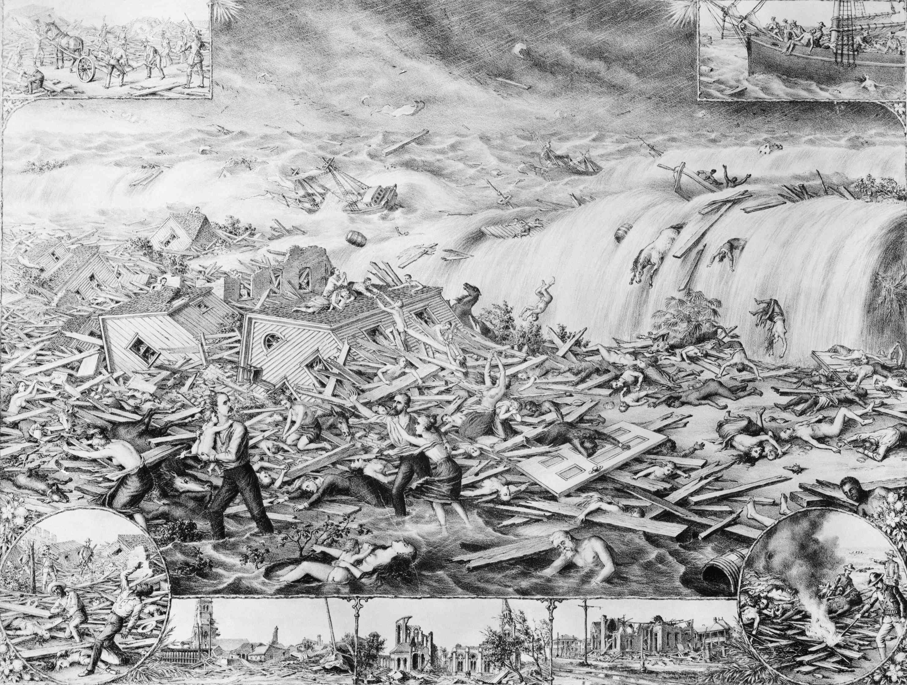 Lithograph depicting of the gulf tidal wave that devastated Galveston, TX, on September 8, 1900.
