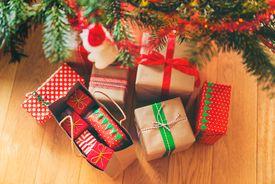 Christmas presents under the Christmas tree.