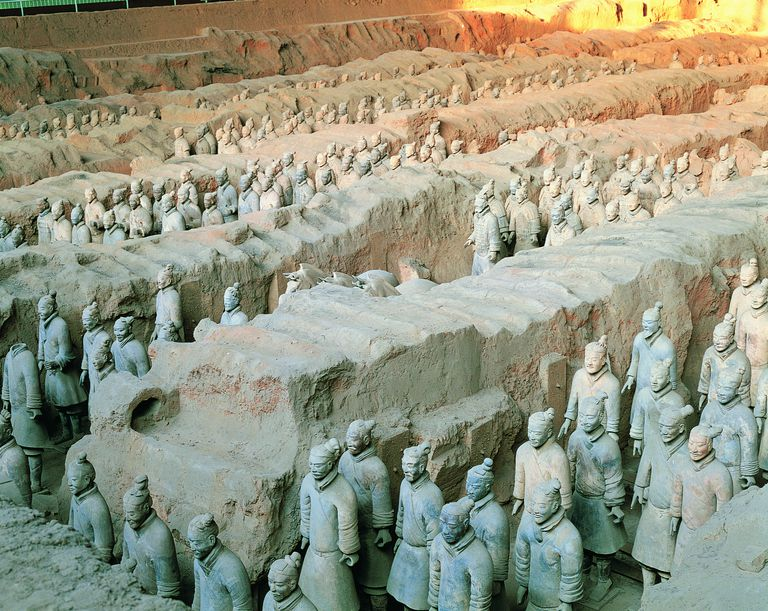 Terracotta Soldiers in Trenches, Mausoleum of Emperor Qin Shi Huang, Xi'an, Shaanxi Province, China