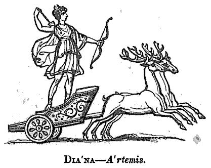 Diana: Göttinnen aus Thomas Keightleys 1852 Die Mythologie des antiken Griechenlands und Italiens.