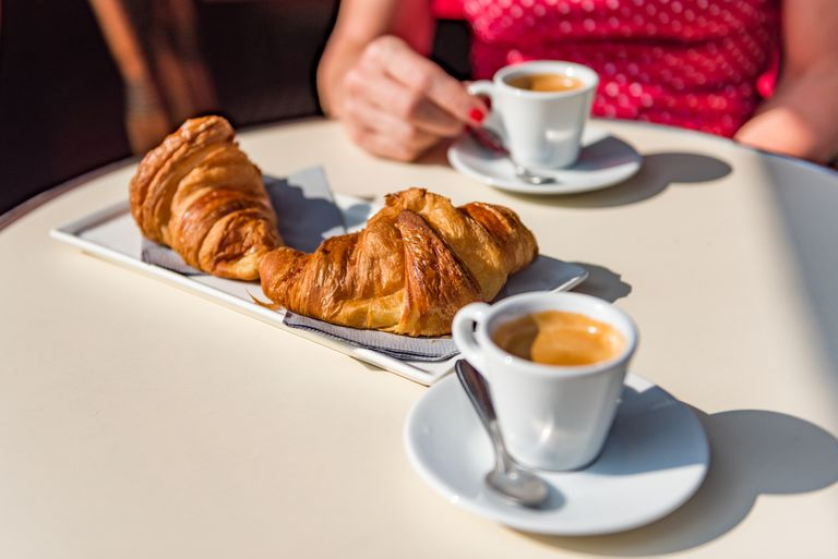 Croissants and coffee in a cafe