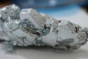 Close up of a chunk of gallium.