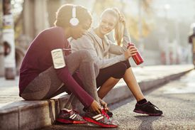 Close up of a young women getting ready for a morning run
