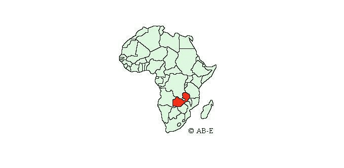 Zambia on map of Africa