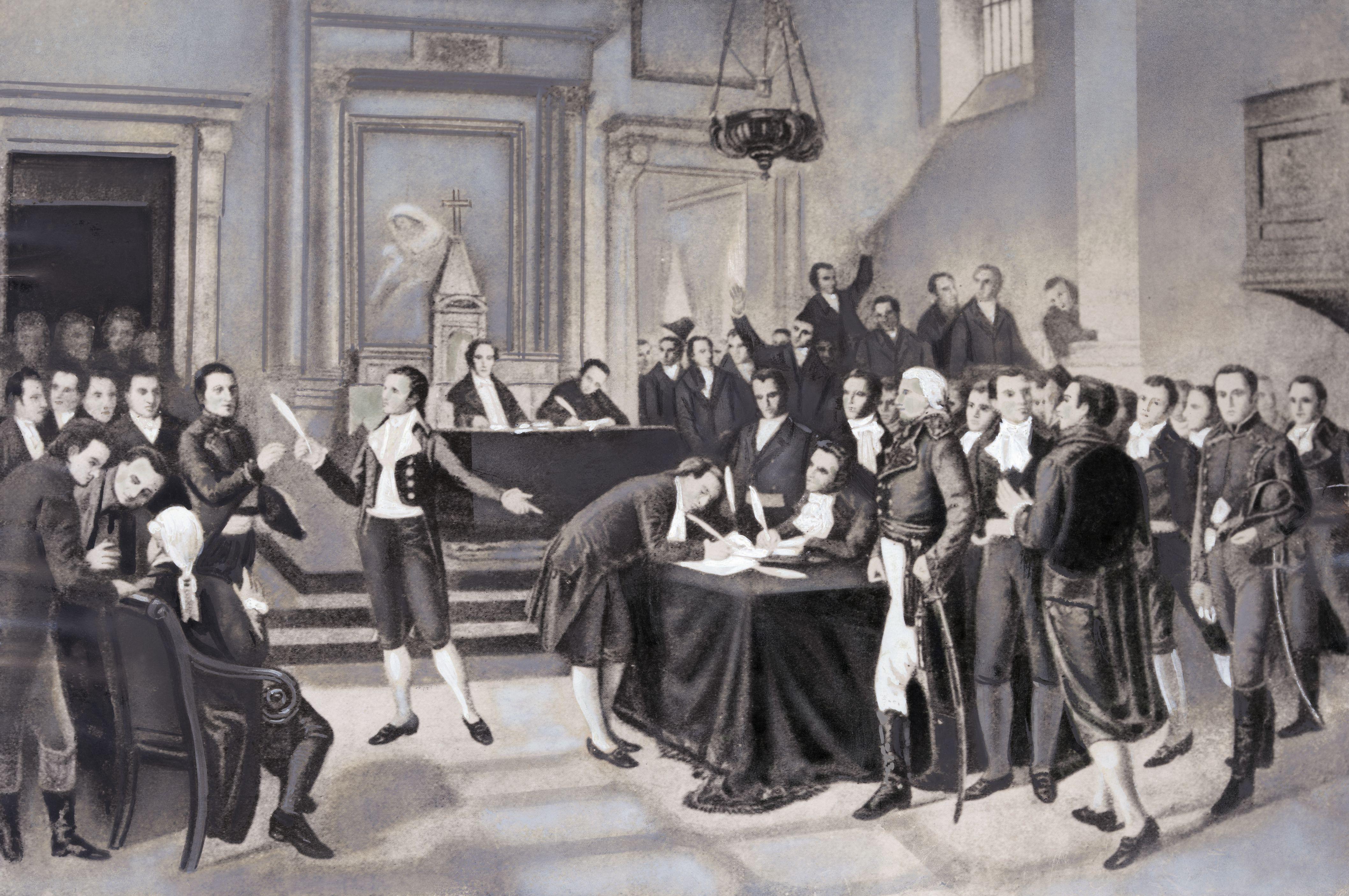 Illustration of Bolivar and Miranda Signing Declaration of Independence