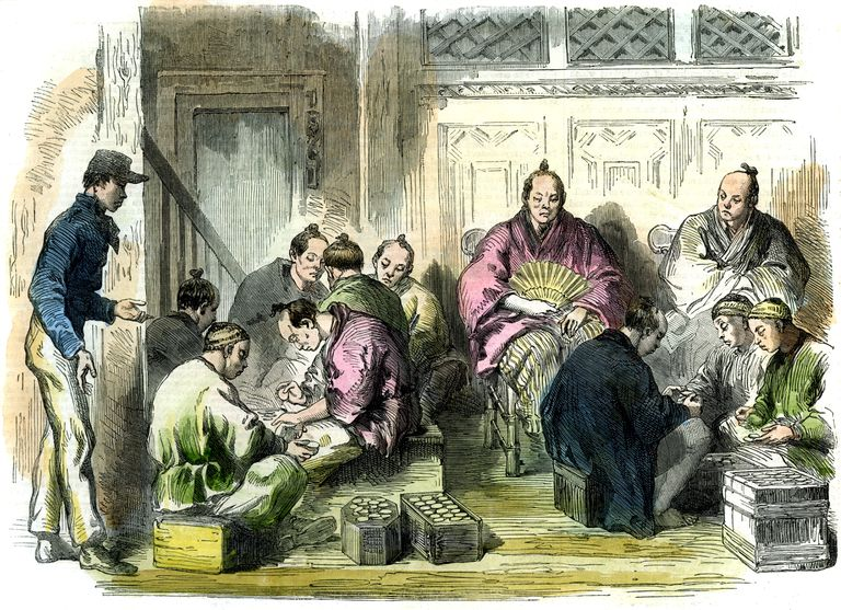 Counting the compensation money for the murder of Mr Richardson, Japan, 1863.