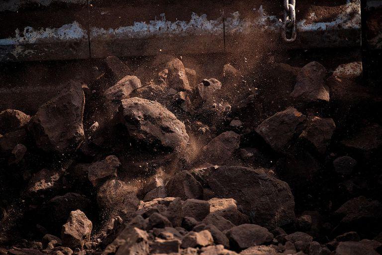 Brown Coal Passes Along a Conveyor Belt