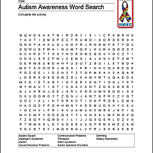 Autism Awareness Wordsearch Vocab Crossword And More