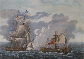 Naval battle between the HMS Java and the USS Constitution, December 29, 1812