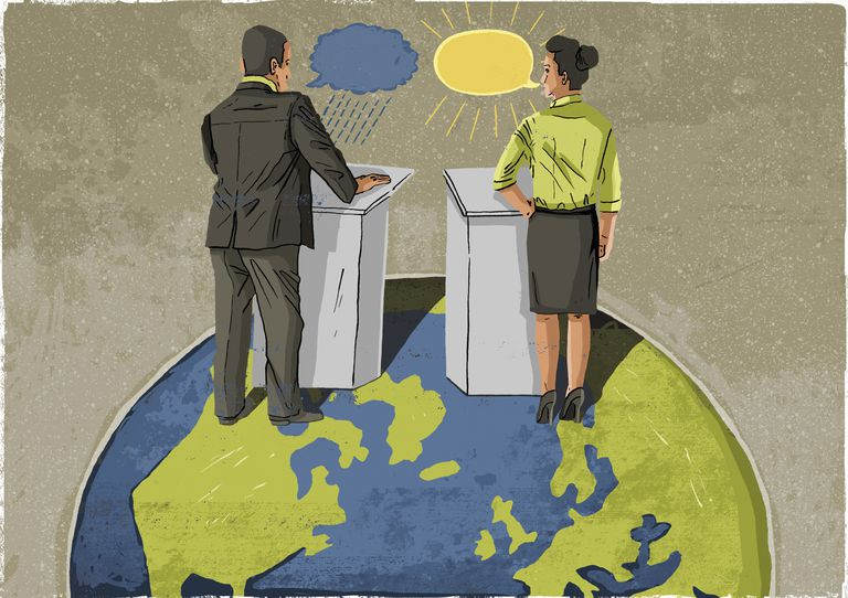 Politicians at lecterns on top of globe disagreeing in debate