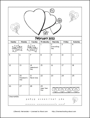 February 2012 Printable Coloring Calendar