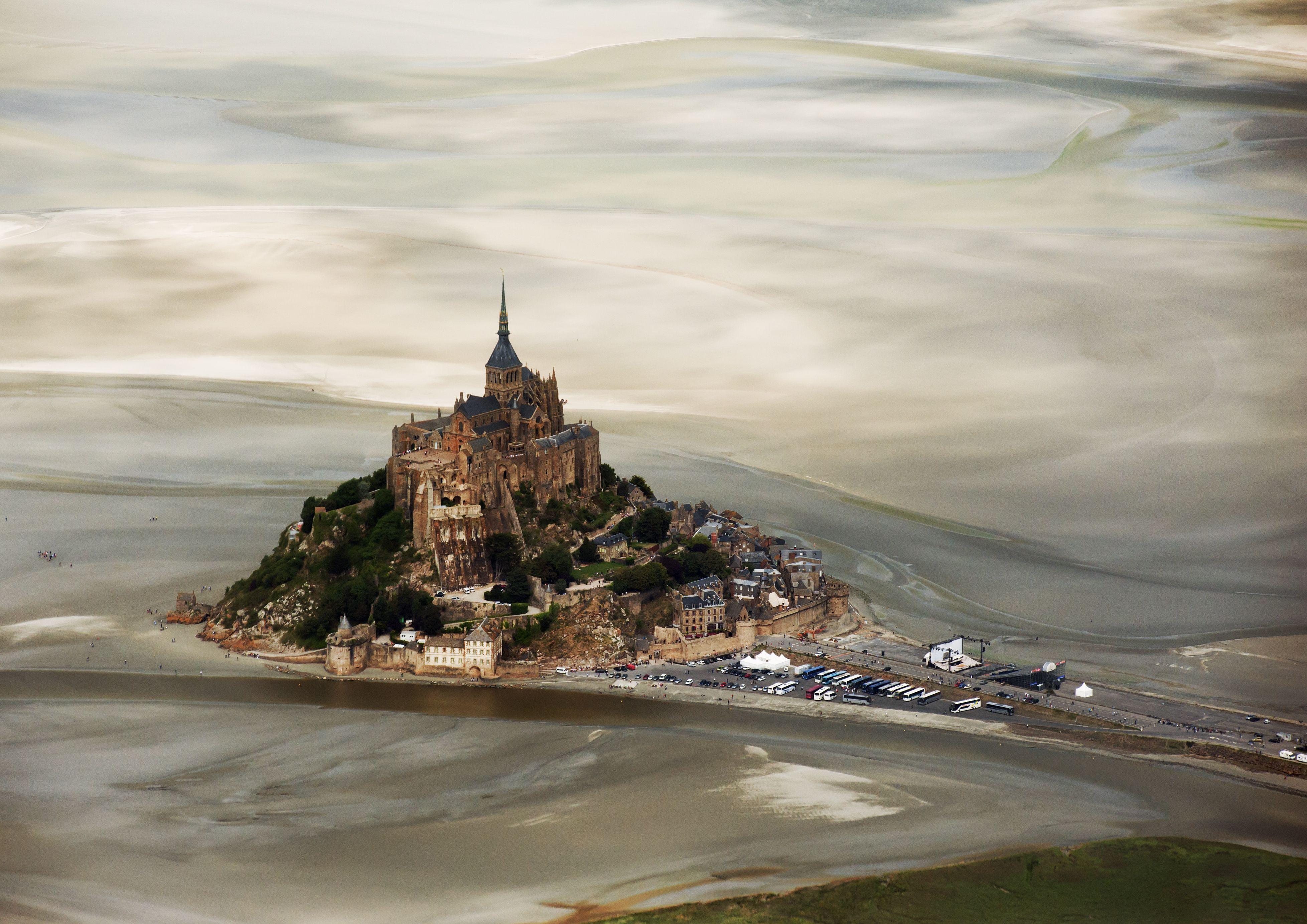 Castle on hill, Mont-Saint-Michel, France