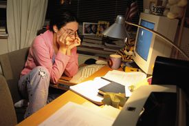 College Student Studying Late at Night