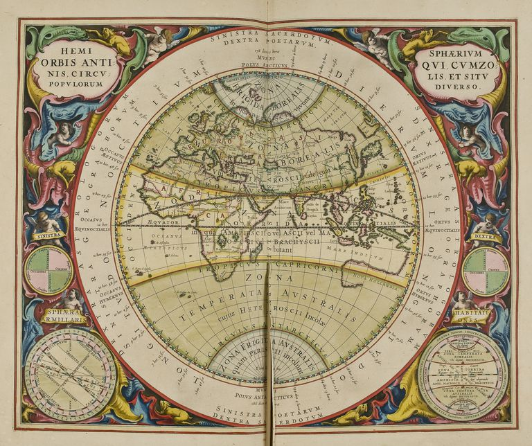 Illustration from Harmonia Macrocosmica by Andreas Cellarius, map of Old World, with climate zones and meridians, published in Amsterdam, 1660