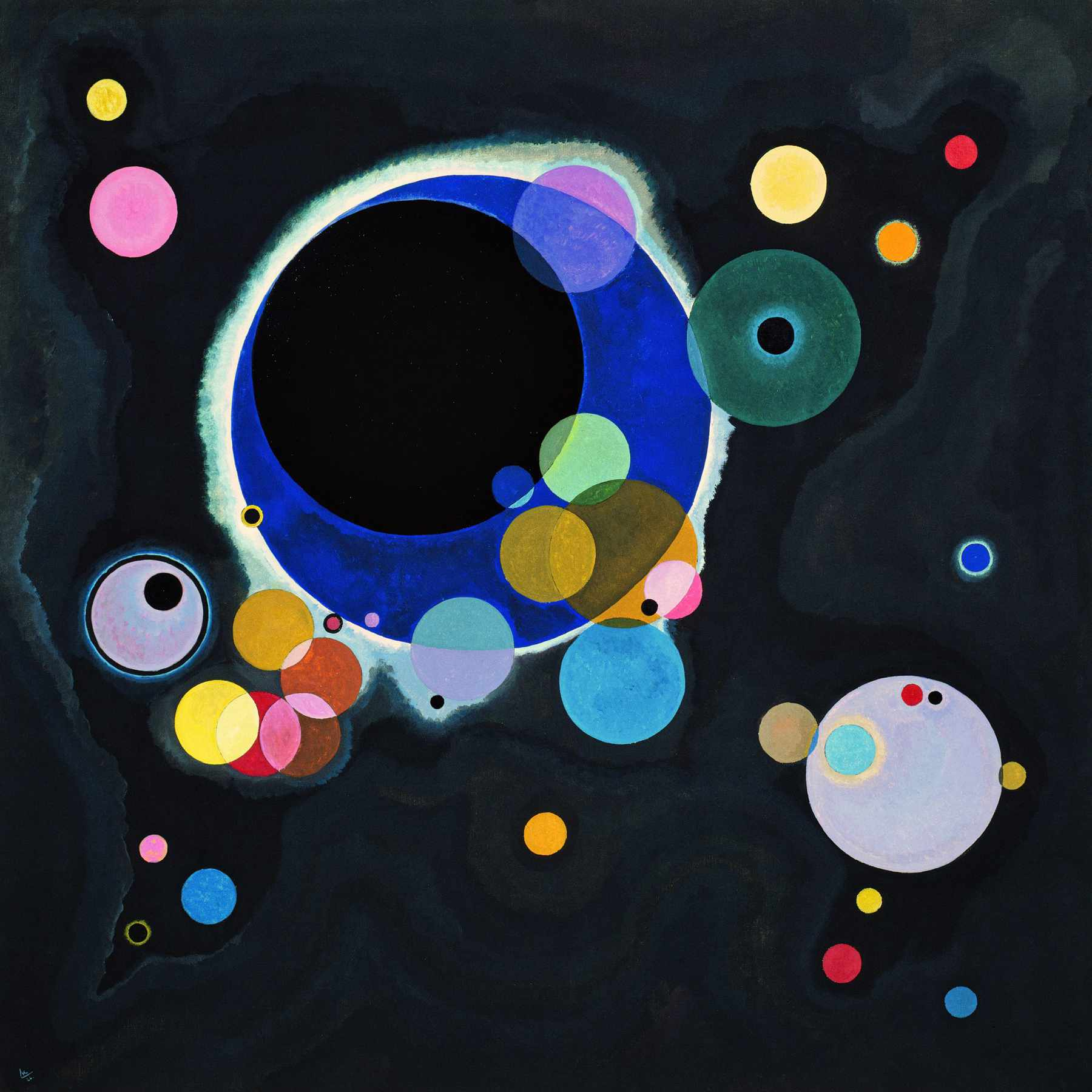 Wassily Kandinsky (Russian, 1866-1944) Wassily Kandinsky (Russian, 1866-1944). Several Circles (Einige Kreise), January-February 1926. Oil on canvas. 55 1/4 x 55 3/8 in. (140.3 x 140.7 cm). Solomon R. Guggenheim Founding Collection, By gift 41.283. Solomon R. Guggenheim Museum, New York.